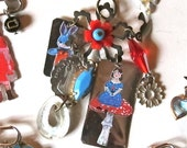 Nathalie Lete Bunny and Blue Little girl Pendant - Hippie Chic - Founded Objects - Treasure Lot