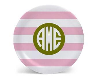 Preppy Stripes Personalized Melamine Plate