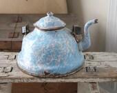 SALE---Blue - pink - white splatter print French enamel tea - coffee pot