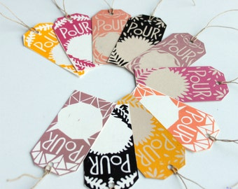 """Christmas Gift tags labels """"POUR"""" french for """"FOR"""", set of 10, hand printed, original prints"""