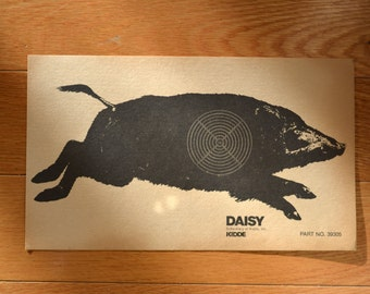 Vintage Daisy Pig Boar Kidde Target shooting Paper c. 1940s collectible wall art