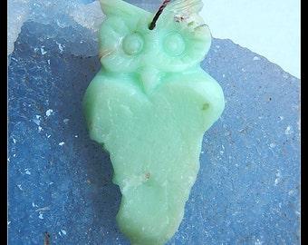 Carved Chrysoprase Gemstone Owl  Pendant Bead,27x48x13mm,14.4g