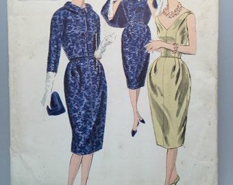 50s Cocktail Dress & Jacket Ensemble -  Vogue Couturier Design #199 - UNUSED Woven Label Great Size - Bust 38
