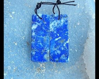 SALE,Lapis Lazuli Gemstone Earring,34x12x3mm,8.4g