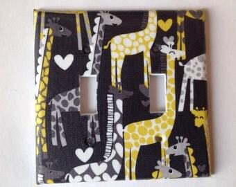 Giraffe Nursery Decor / Giraffe Light Switch Cover / Grey Nursery Decor / Yellow Gray Decor / Gender Neutral Decor / Giraffe Wall Art