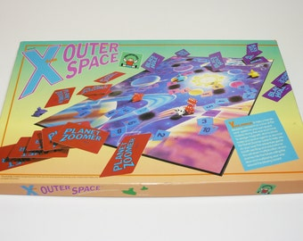 Vintage X from Outer Space Board Game Science Fiction Educational Mathematics - Homeschool Math Fun - Discovery Toys 1986