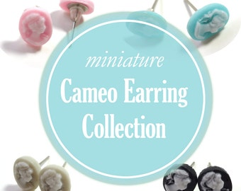Cameo Earrings - Stud Earrings Lot - Cameo Jewelry - Miniature Cameos - Victorian Jewelry - Pastel Earrings - Tiny Cameos - Gift for Teen