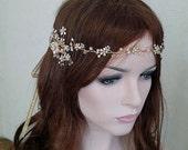 Gold or Silver Leaf Vine Wedding Headpiece. Boho Delicate Crystal Pearl Floral Bridal Wreath. Halo Headband. Rhinestone Hairpiece.  MARIE