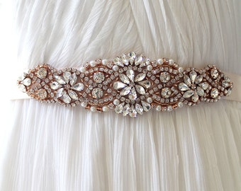 Rose gold Bridal Crystal Sash. Gold Rhinestone Pearl Applique Wedding Belt. Silver Bridal sash. VINTAGE MODE ROSE Gold