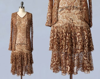 RESERVED 1920s Dress / 20s Metallic Lace Flapper Dress and Matching Jacket