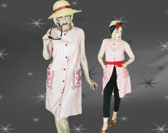 Vintage Summer Shift Dress - 60s Daydress - Beach Dress -  Swimsuit Cover Up - M/L