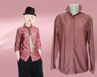 70s Qiana Shirt, Womens Vintage Knit Shirt, Soft Brown Shirt, Vintage Ship n Shore Knit Blouse, Long Sleeve Shirt, Convertible Collar