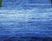 Blue handwoven rag rug 6x9 foot rug