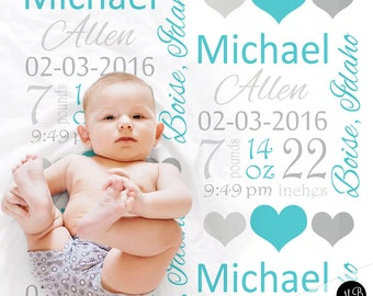 Blue and gray baby stats blanket, personalized blanket, boy birth stats blanket, boy baby blanket, baby shower gift, receiving, hearts