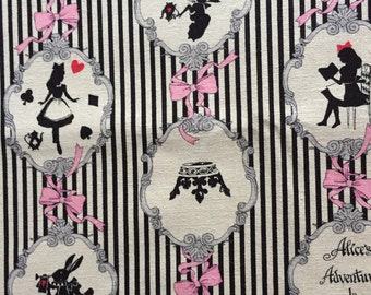 SALE Alice in wonderland print fabric black and white colour One yard