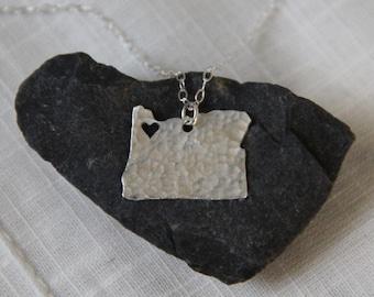 Sterling Silver Oregon State Necklace - Sterling Silver Oregon Necklace - I Heart Portland Necklace - Sterling Silver Oregon Pendant