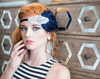 20s Headpiece Navy Flapper Headband, Silver Beaded Headband Blue Feather Great Gatsby Headpiece for Women