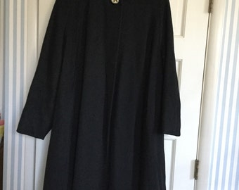 Wonderful black wool swing coat