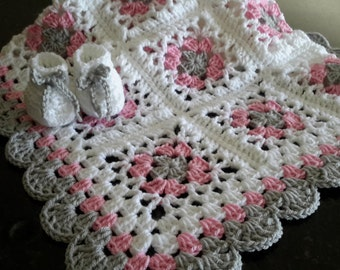 baby girl, lacy granny square, baby, crochet blanket, afghan crochet, crocheted blanket, crocheted afghan, pink, grey &white READY TO SHIP