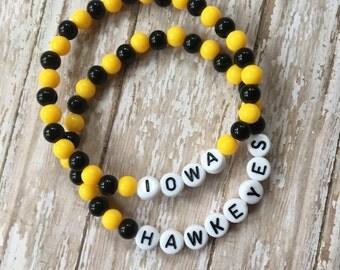 IOWA HAWKEYES Bracelet-School Spirit-College-Black and Gold-Iowa Sports-Go Hawks
