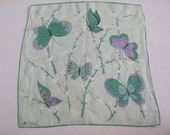 Beautiful Green Butterfly Designer Cotton Hankie - Signed Erin O'Dell