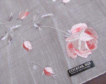 Lovely Sheer White Pink Floral Embroidered Hankie Switzerland - Unused New