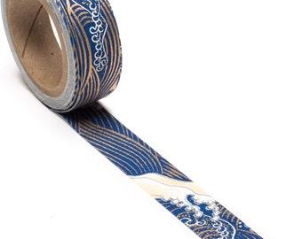 Ocean Blue Hand-Silkscreened Japanese Chiyogami Yuzen Washi Tape