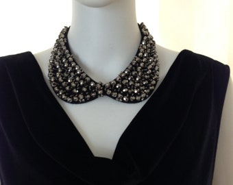 Embellished ,   Sequin, Crystal Bead and stone Peter Pan Collar Necklace