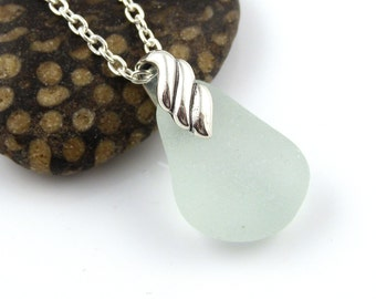 Pale Blue Sea Glass Pendant Necklace REESE, Sea Glass Pendant, Sea Glass Necklace, Recycled Glass