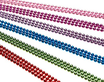 """5 COLORED 18"""" Ball Chain Necklaces - Multiple Color Choices of High Quality Colors"""
