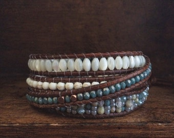 eclectic bohemian style brown leather 4x wrap bracelet // dusty blues // mother of pearl // magnesite // Czech glass // seed beads