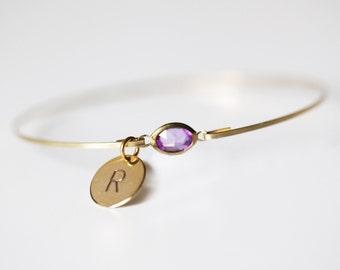 Amethyst Personalized Bangle, Gold Amethyst Bangle, Initial Rhinestone Bangle, Amethyst Bracelet, February Birthstone,Purple Monogram Bangle