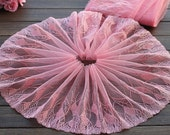 2 Yards Lace Trim Exquisite Pink Flowers Embroidered Tulle Lace 9 Inches Wide High Quality