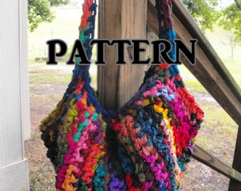 CROCHET PATTERN Upcycled Sari Silk Tote Bag, Easy Breezy Bright and Hippy Slouchy Hobo, Advanced Beginner, Step by Step Instructions