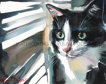 Black and White Tuxedo Cat Digital Art Print of Watercolor Painting of Cat Kitty Instant Download Wall Decor Artwork Image Picture
