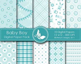 50% off Baby Boy Paper Pack - 10 Digital paper - 12 x12 - 300 DPI