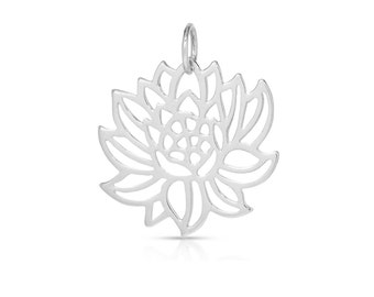 Sterling Silver 24x21mm Detailed Blooming Lotus Charm With 5mm Jump Ring - 1pc (7689)/1