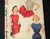 ON SALE Vintage 1940 Simplicity Ladies Sz 16 B34 Blouse Shirt Pattern 4190 Simple to Make