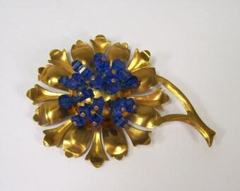 Vintage Brooch Blue Glass Bead Cluster Flower Gold Tone Pressed Brass Stamped