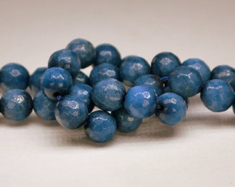 Half Strand 8mm Faceted Blue Jean Blue Gemstone Beads - 23 beads