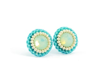 Mint stud earrings | mint green turquoise bridesmaid earrings | beach wedding earrings |  unique mint studs | turquoise studs | gift for her
