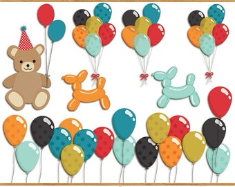 Quentin birthday clip art images,  balloon clip art,  party clip art, instant download