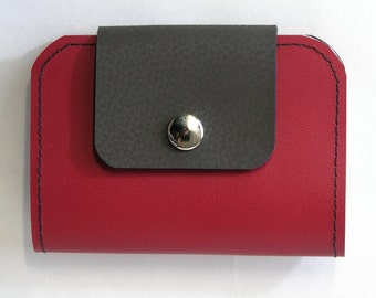 Rosie, Upcycled Leather Wallet, Leather Billfold in Red
