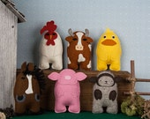 Felt Animal PATTERN BUNDLE, Felt Softie Sewing Patterns, Sheep, Pig, Rooster, Chicken, Cow, Horse, Stuffed Farm Animals, DIY Handmade Gift