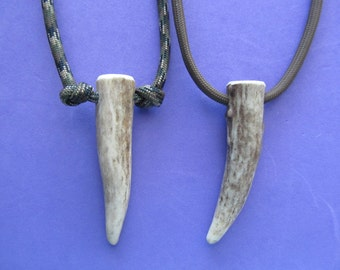 Deer Antler Necklace.  Real deer antler tip on paracord.  Choose your cord color, and plain or knotted cord style.  Length is adjustable.