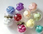 10pcs Handmade Glass Ball Pendant with Multi Color  Hydrangea Dry Flowers
