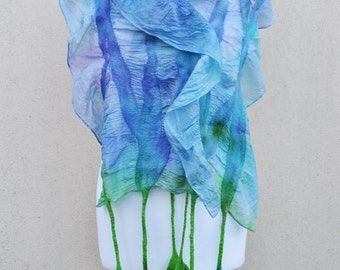 Felted scarf, silk, wool, nuno, felted, gift, fibre art, green, light blue, light purple
