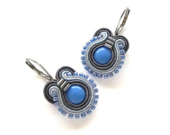 Blue Earrings Blue Drop Earrings Soutache Earrings Blue Earings Blue Dangle Earrings Small Drop Earrings Blue and Grey Earrings Dark Grey