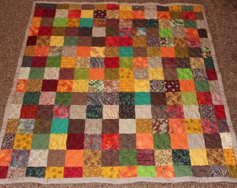 Patchwork Throw Size Quilt - Earth Tones - Lap Size Handmade Patchwork Quilt - Fall Lap Quilt - Ready To Ship