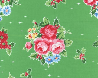 Flower Sugar Holiday Fabric Green Floral And Holly Lecien Fabrics Half Yard
